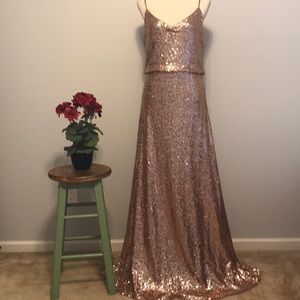 Jenny Yoo rose gold sequin gown